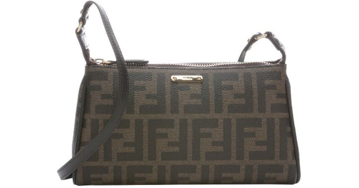 2652f0a78af ... sale lyst fendi tobacco leather trimmed zucca spalmati small crossbody  bag in brown 4292c 834ce ...