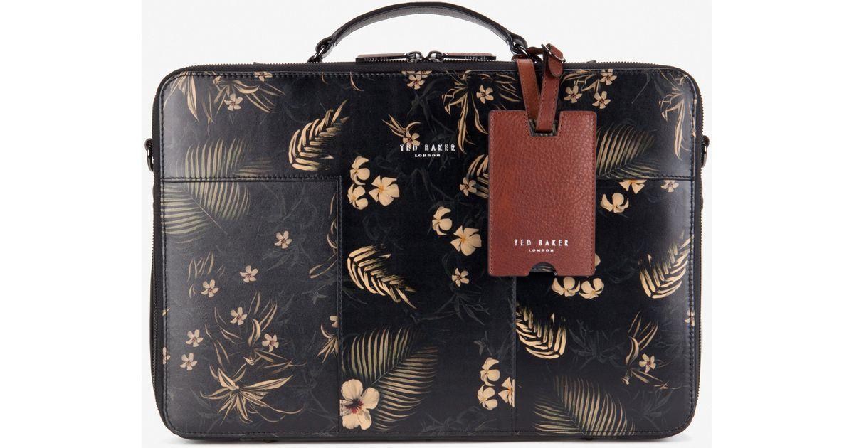 64409287e7af2 Ted Baker Printed Leather Laptop Bag for Men - Lyst
