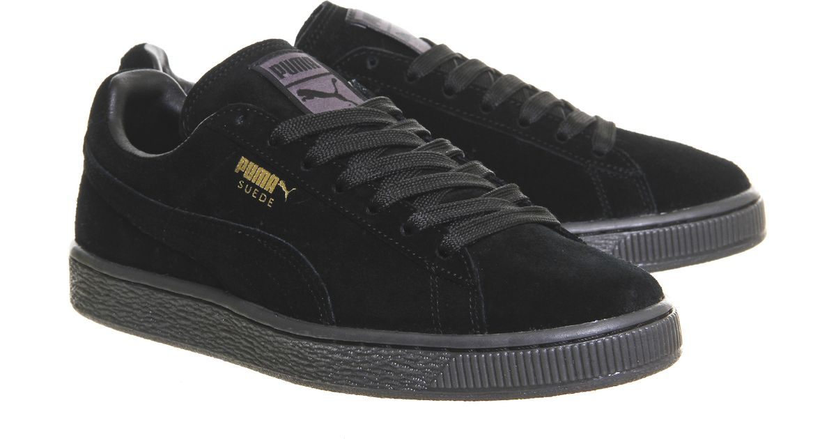 puma suede classic in black lyst. Black Bedroom Furniture Sets. Home Design Ideas
