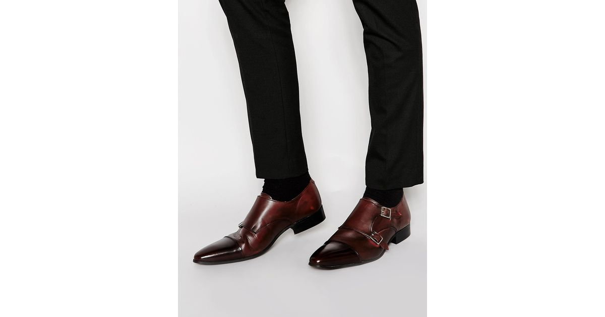 a8631f422811 Shoes Toe Cap Monk Lyst Leather Burgundy In Purple With Asos fxExOqSwv