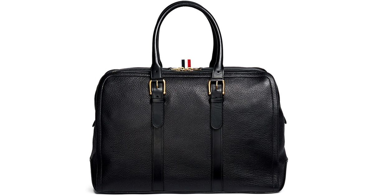 Thom Browne Leather Duffle Bag in Black for Men - Lyst 66c0302a85024