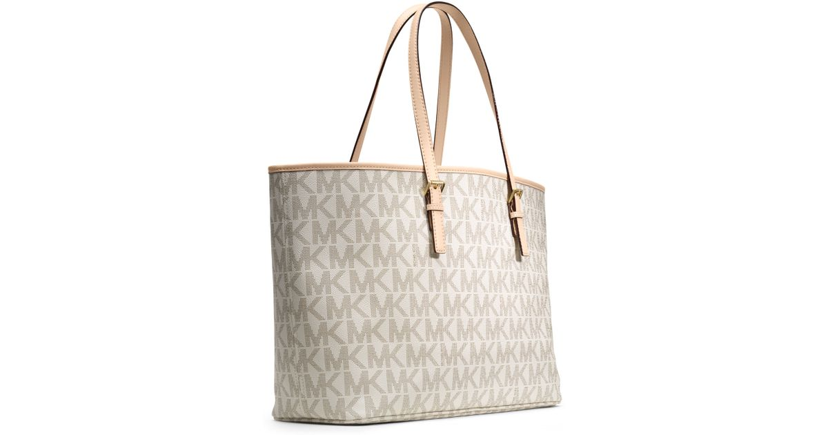088d834a09e1 Lyst - Michael Kors Michael Medium Jet Set Multifunction Logo Travel Tote  in Natural