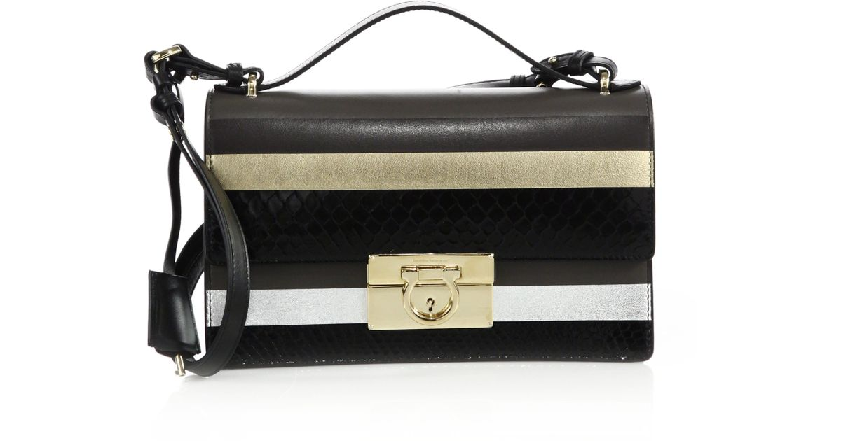 Lyst - Ferragamo Aileen Striped Metallic Leather   Python-embossed Leather  Crossbody Bag in Black 5701ac4bf0234