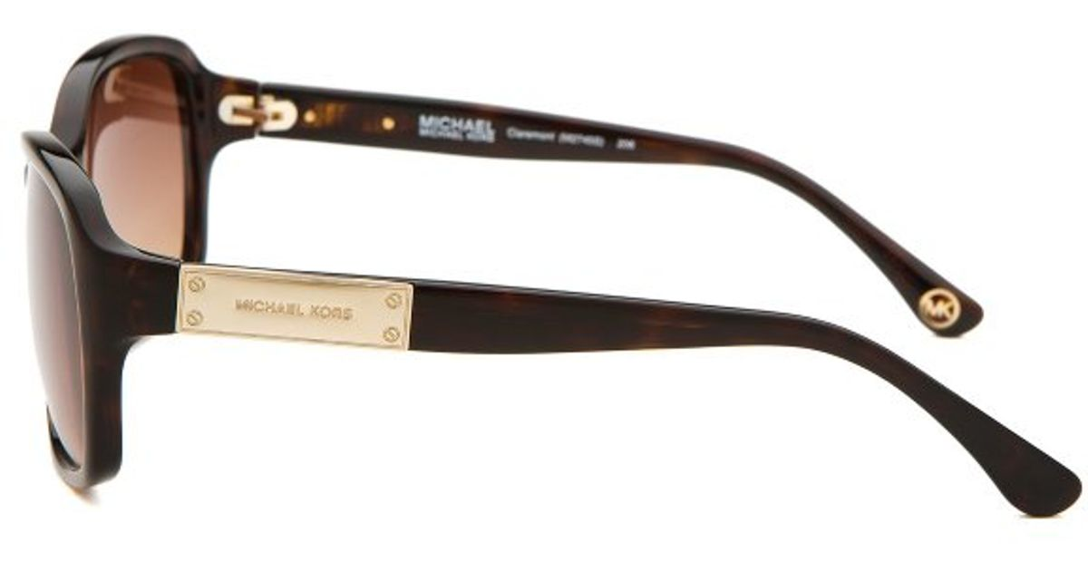 b44faf3acf47e Lyst - Michael Michael Kors Women s Claremont Dark Havana Square Sunglasses  in Brown
