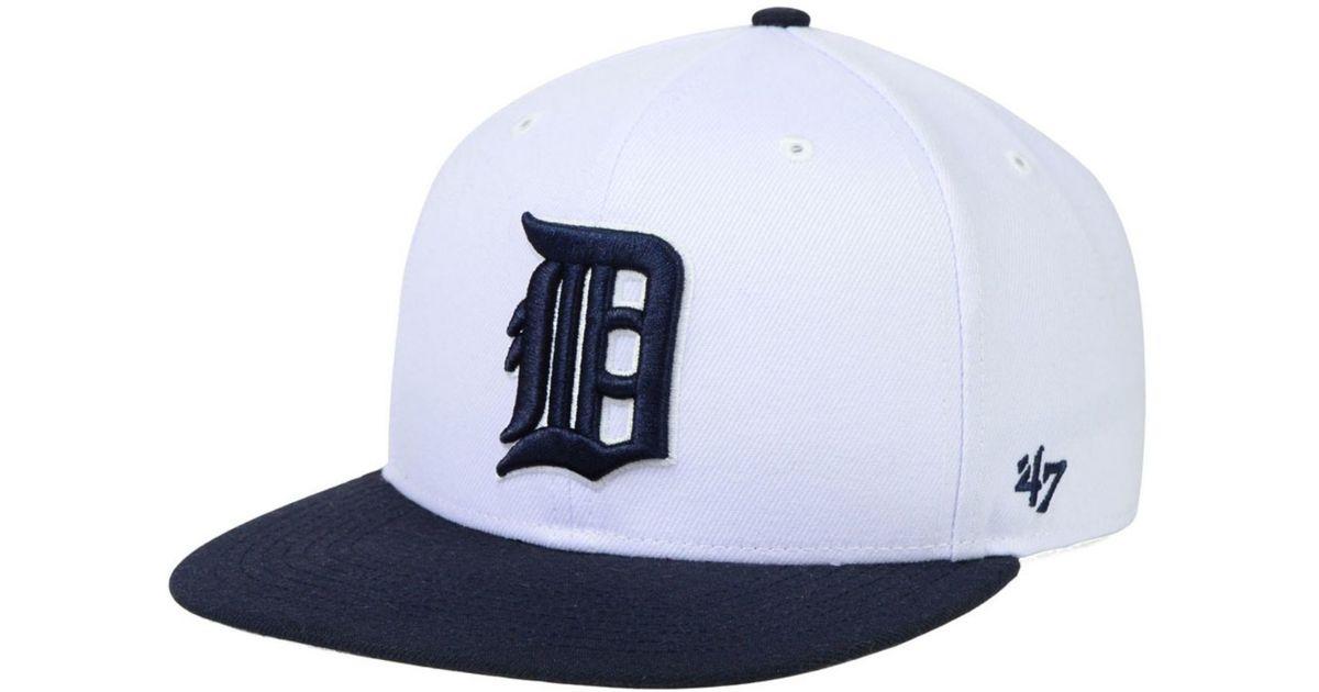 promo code e3c26 bd1b6 47 Brand Detroit Tigers Sure Shot Snapback Cap in White for Men - Lyst