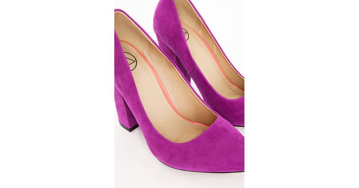91539de56e64 Lyst - Missguided Block Heel Court Shoes Purple in Purple