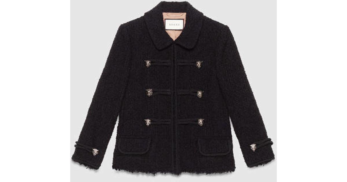 a77efdcc4 Gucci Tweed Jacket in Black - Lyst