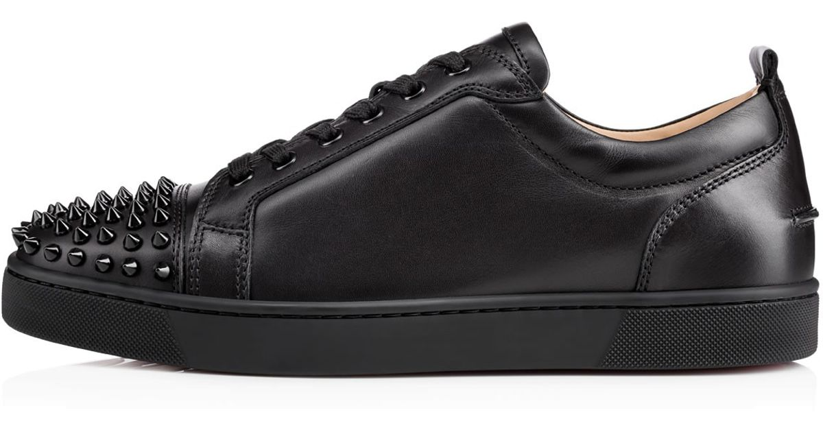 e38e2a59a984 Lyst - Christian Louboutin Louis Junior Spikes Leather Sneakers in Black  for Men