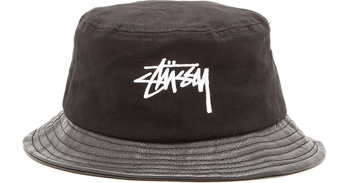 Lyst - Stussy Stock Leather Brim Bucket Hat in Black for Men 7192e0f6d2b