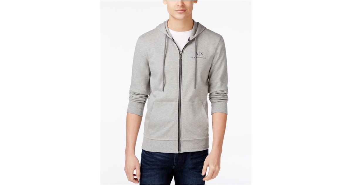 Armani Exchange Men S Signature Hoodie Jacket In Gray For