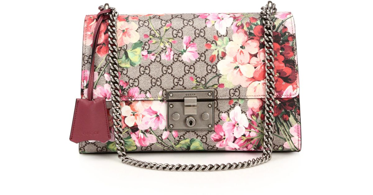 44a8973f7c5f Lyst - Gucci Padlock Blooms Shoulder Bag in Pink