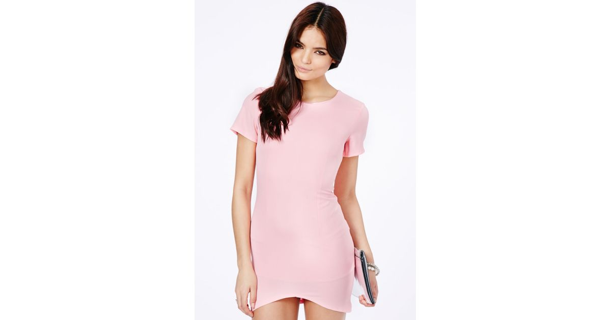 5f9a48a548f Lyst - Missguided Kanona Asymmetric Shift Dress In Baby Pink in Pink