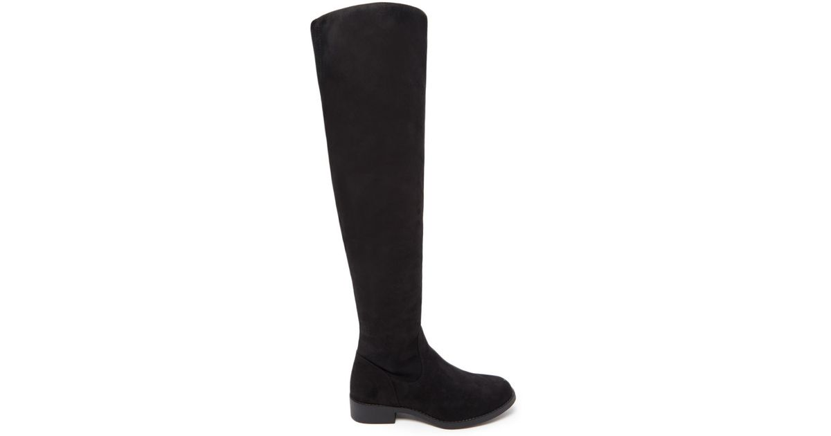 forever 21 the knee faux suede boots in black lyst