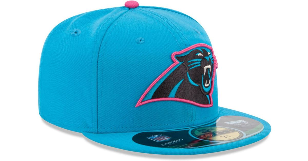 12908a70c99234 ... top quality lyst ktz carolina panthers breast cancer awareness 59fifty  cap in blue for men eadcb