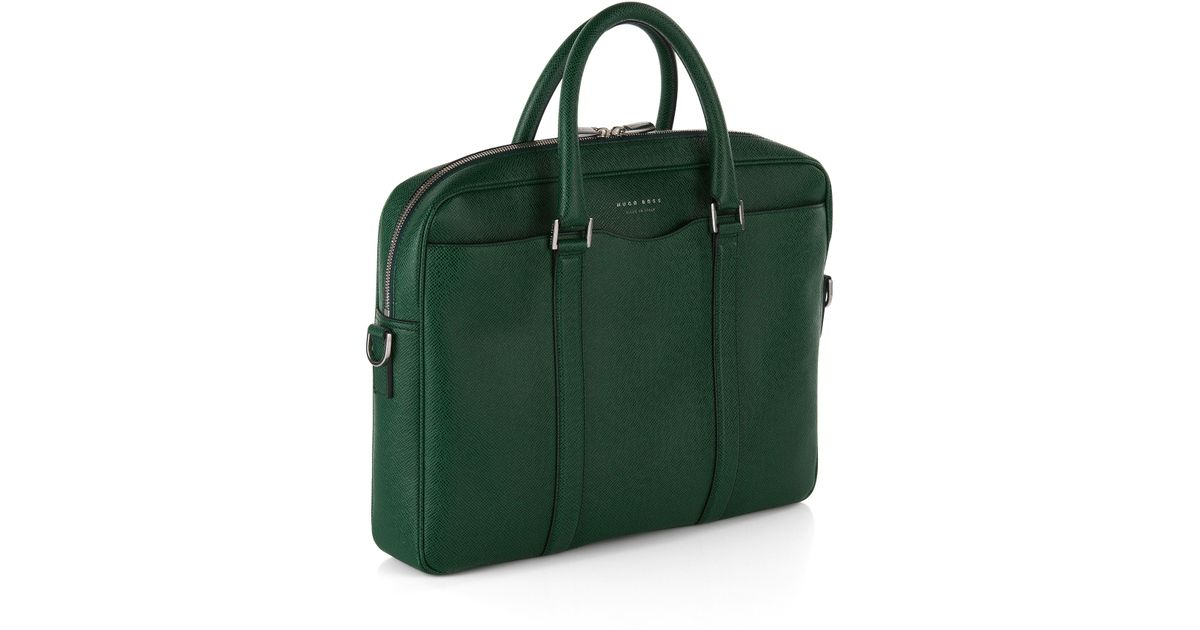 1bc9b149e6 BOSS Laptop Bag In Finely-textured Leather   signature s Doc  in Green for  Men - Lyst