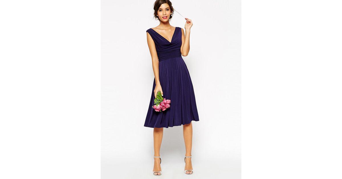 a04986916c39 Lyst - ASOS Wedding Drape Cowl Neck Pleated Midi Dress in Blue