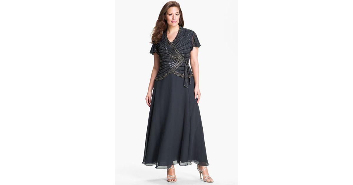 Lyst J Kara Mock Two Piece Gown In Gray