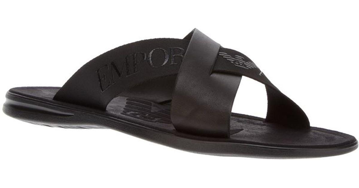 18b9efd90 Lyst - Emporio Armani Logo Cross-over Sandal in Black for Men