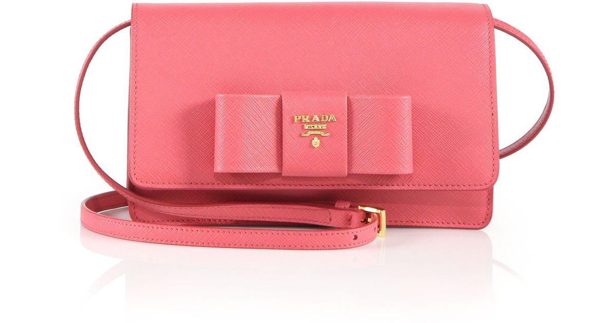 6ee36a31f2da Prada Saffiano Lux Bow Crossbody Bag in Pink - Lyst