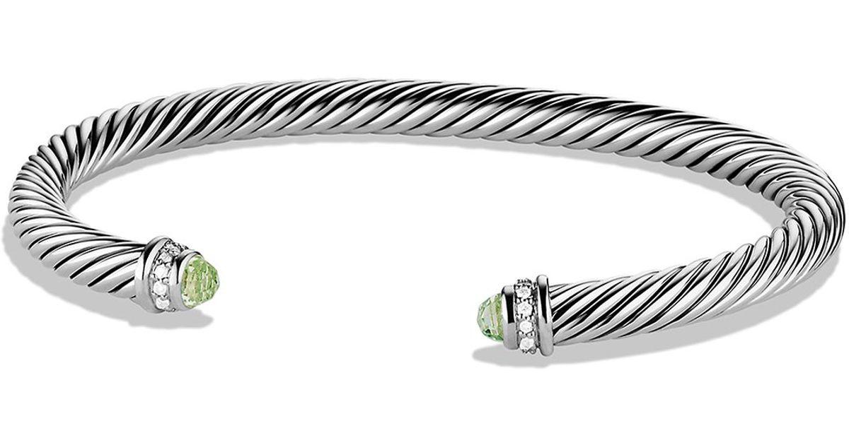 Lyst David Yurman Cable Clics Bracelet With Prasiolite Diamonds In Metallic