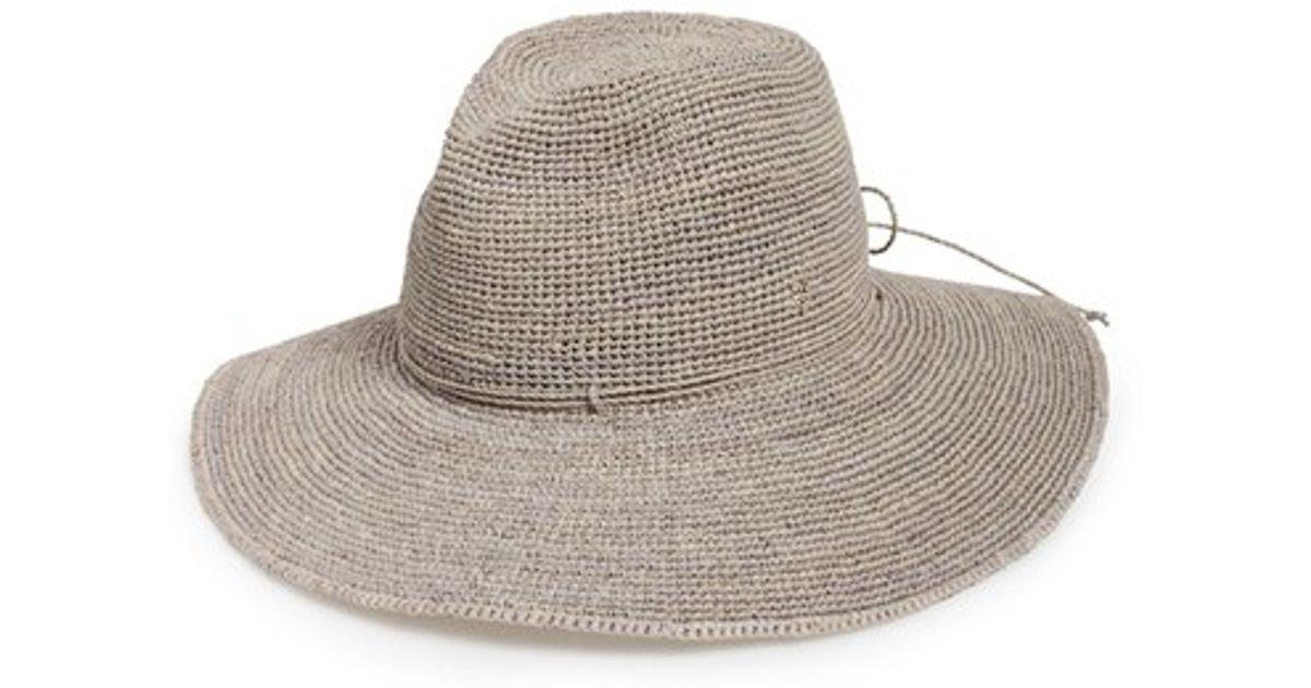 57504a60015b5 Helen Kaminski Raffia Crochet Packable Sun Hat in Gray - Lyst