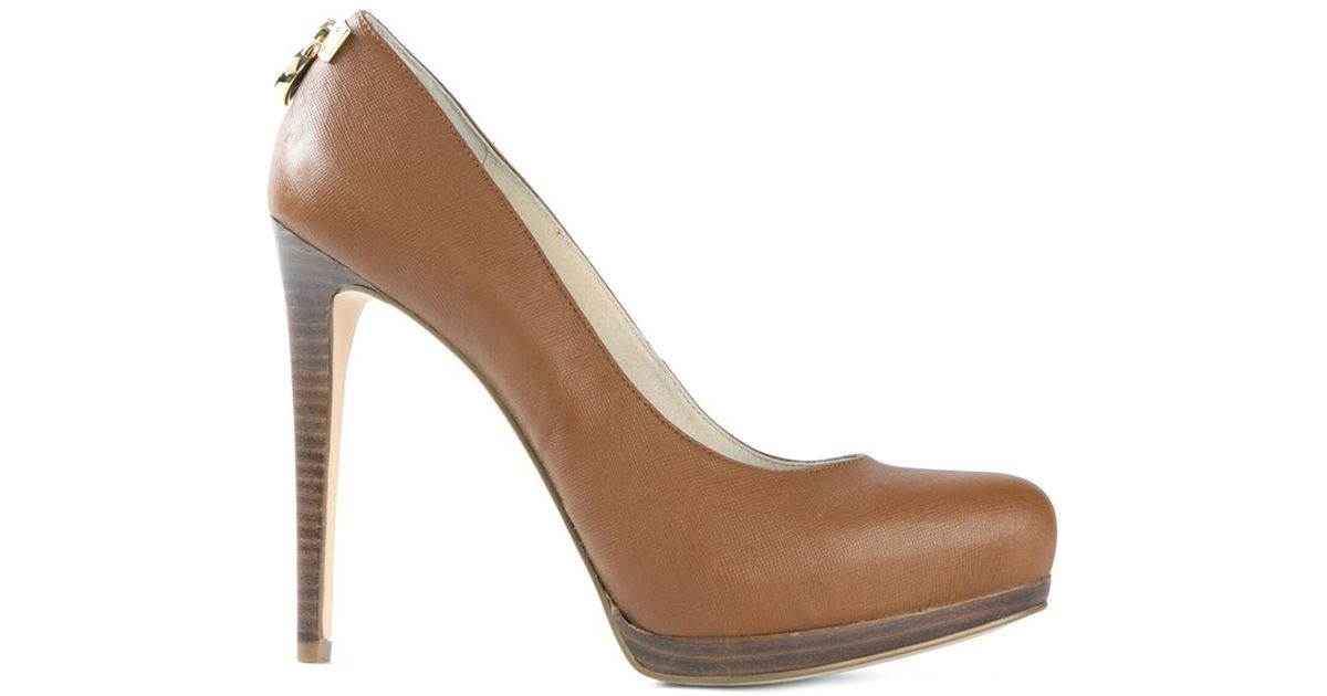 8a73a6cb039 Lyst - MICHAEL Michael Kors Hamilton Leather Pumps in Brown