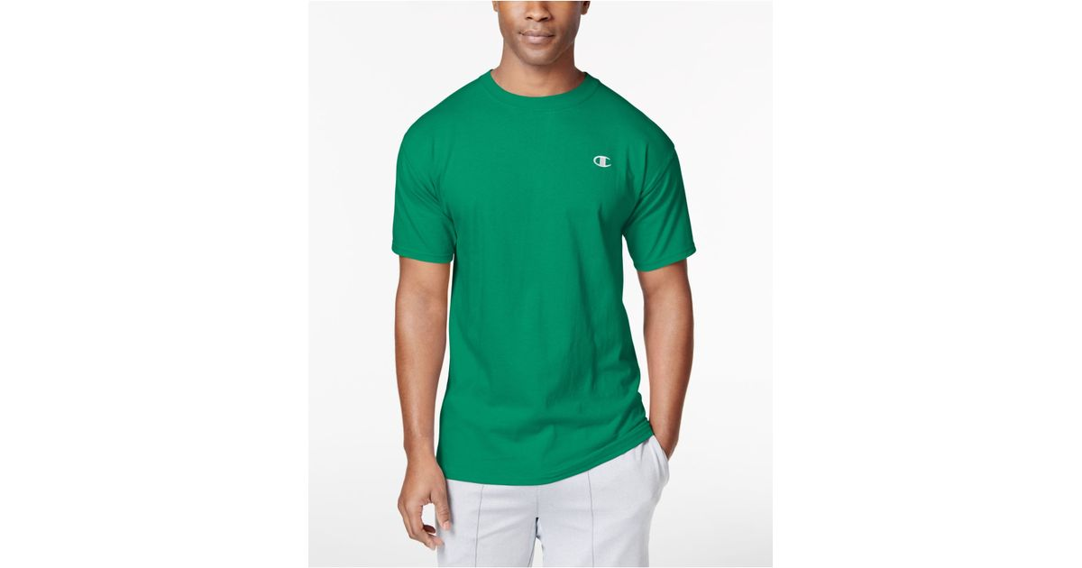 60e0fd0e Champion Jersey T-shirt in Green for Men - Lyst