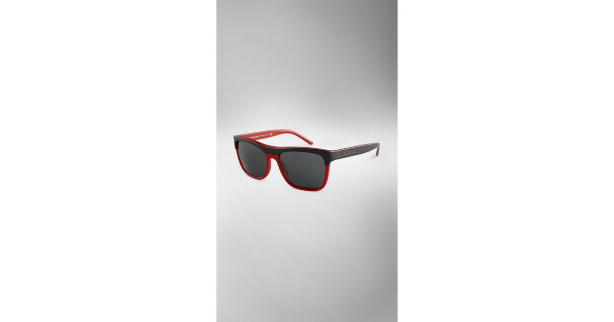 e3f6d1443f Lyst - Burberry Square Frame Acetate Sunglasses in Red for Men
