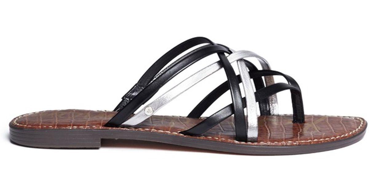 5534c769a Lyst - Sam Edelman  georgette  Strappy Leather Slide Sandals in Metallic