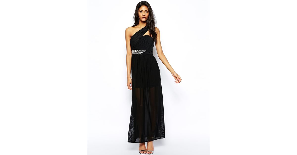 Lyst Tfnc London One Shoulder Maxi Dress With Embellished Waist