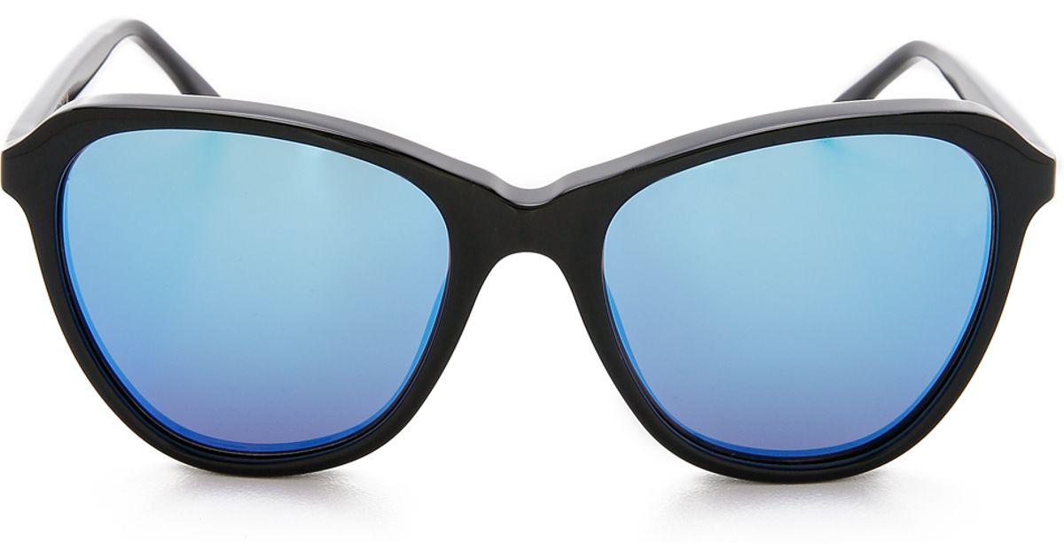 b796485151c Lyst - Wildfox Parker Deluxe Sunglasses - Black Blue Mirror in Black