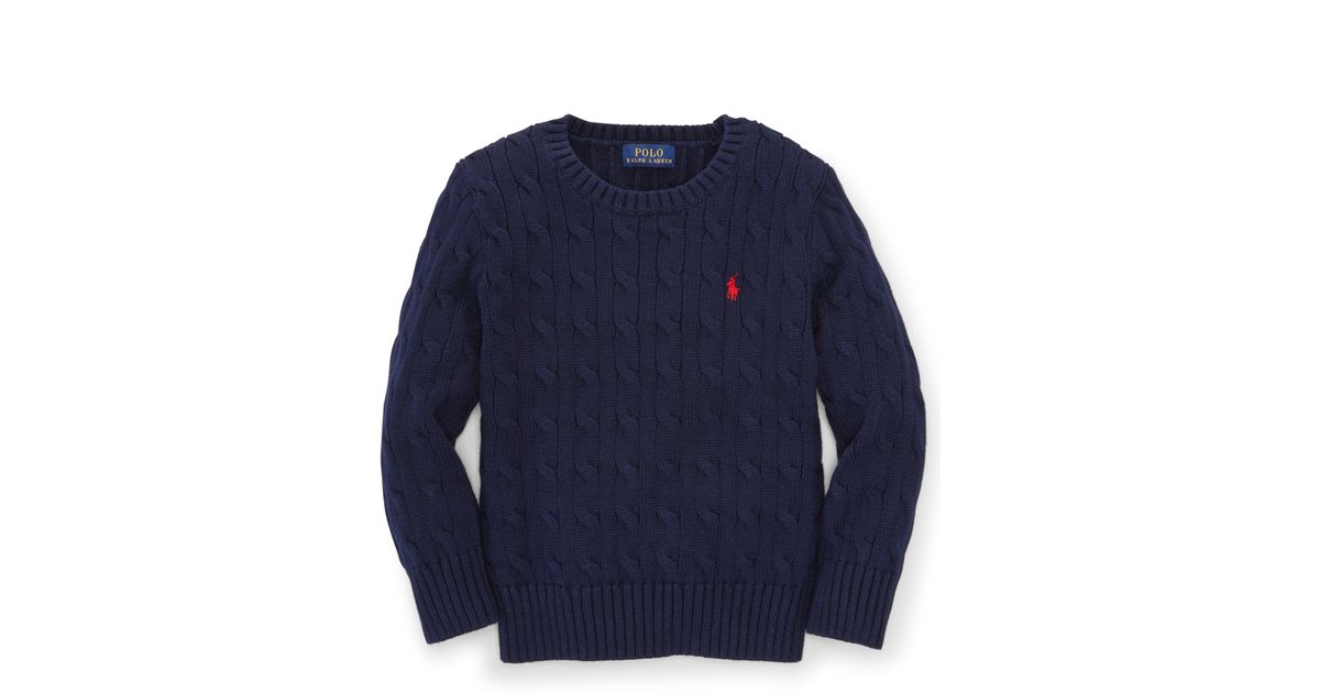Ralph lauren Cable-knit Cotton Sweater in Blue for Men | Lyst