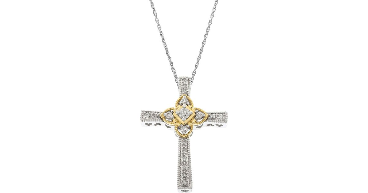 Lord Amp Taylor 14kt White And Yellow Gold Diamond Cross