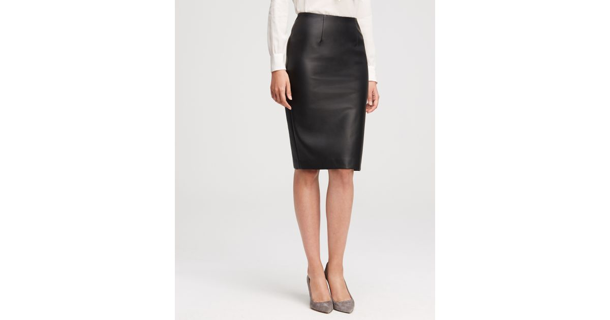 Ann taylor Faux Leather Pencil Skirt in Black | Lyst