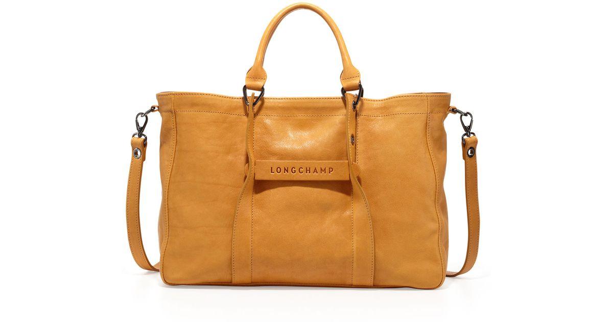 d66db863d62a Lyst - Longchamp 3D Leather Tote Bag in Orange