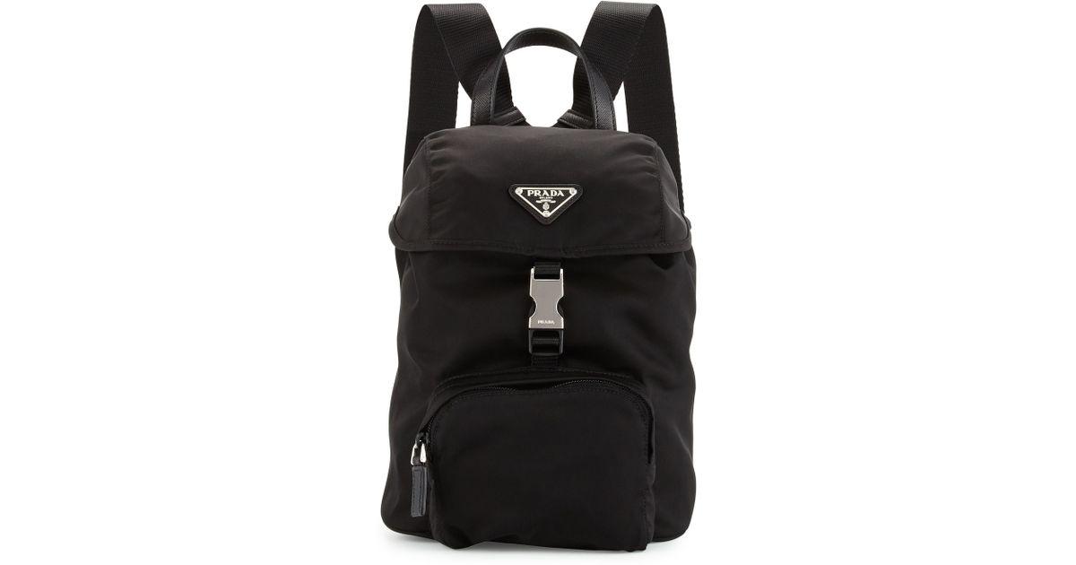 prada backpack replica - Prada Vela Nylon Small Backpack in Black   Lyst