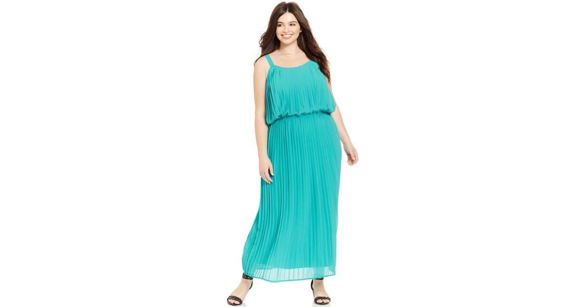 Lyst American Rag Plus Size Pleated Blouson Maxi Dress In Blue