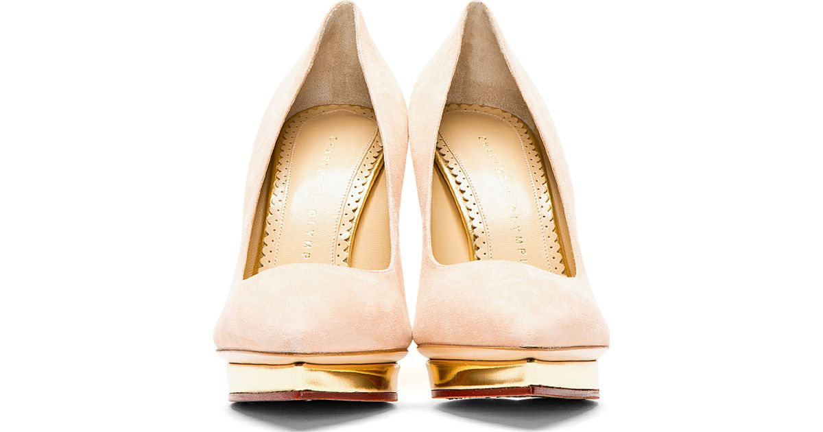 e96f7055 Charlotte Olympia Blush Suede Pointed Debbie Pumps in Pink - Lyst