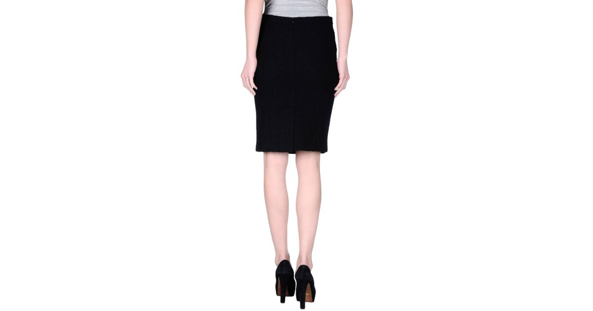 boutique moschino knee length skirt in black lyst