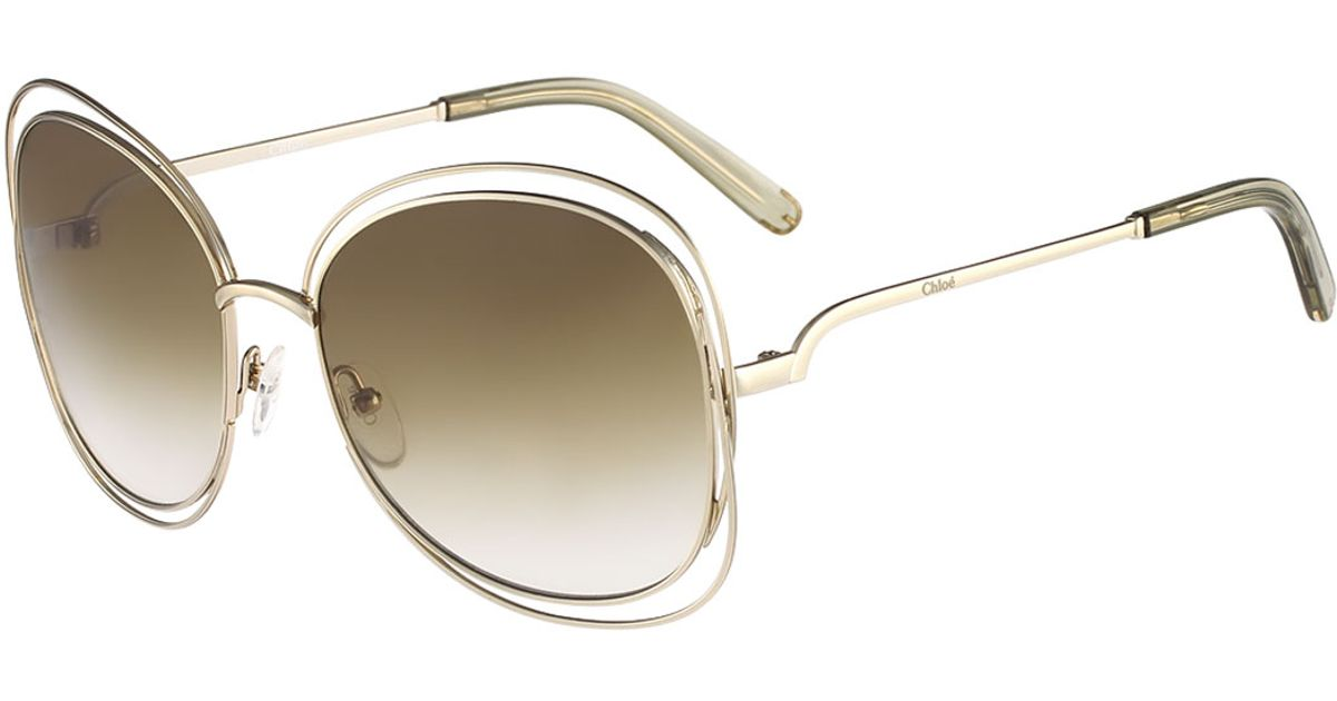 Chloe 79s Gold Frame Sunglasses : Chloe Carlina Butterfly-frame Sunglasses in Metallic ...