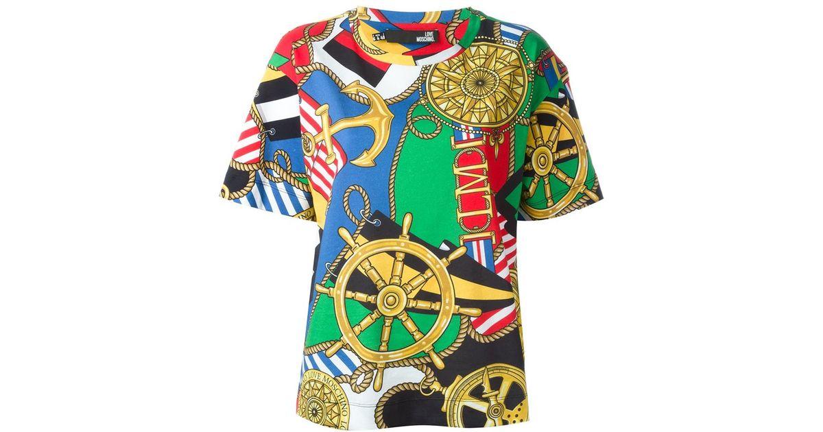 cc47f89df3ac8b Love Moschino Nautical Print T-shirt - Lyst