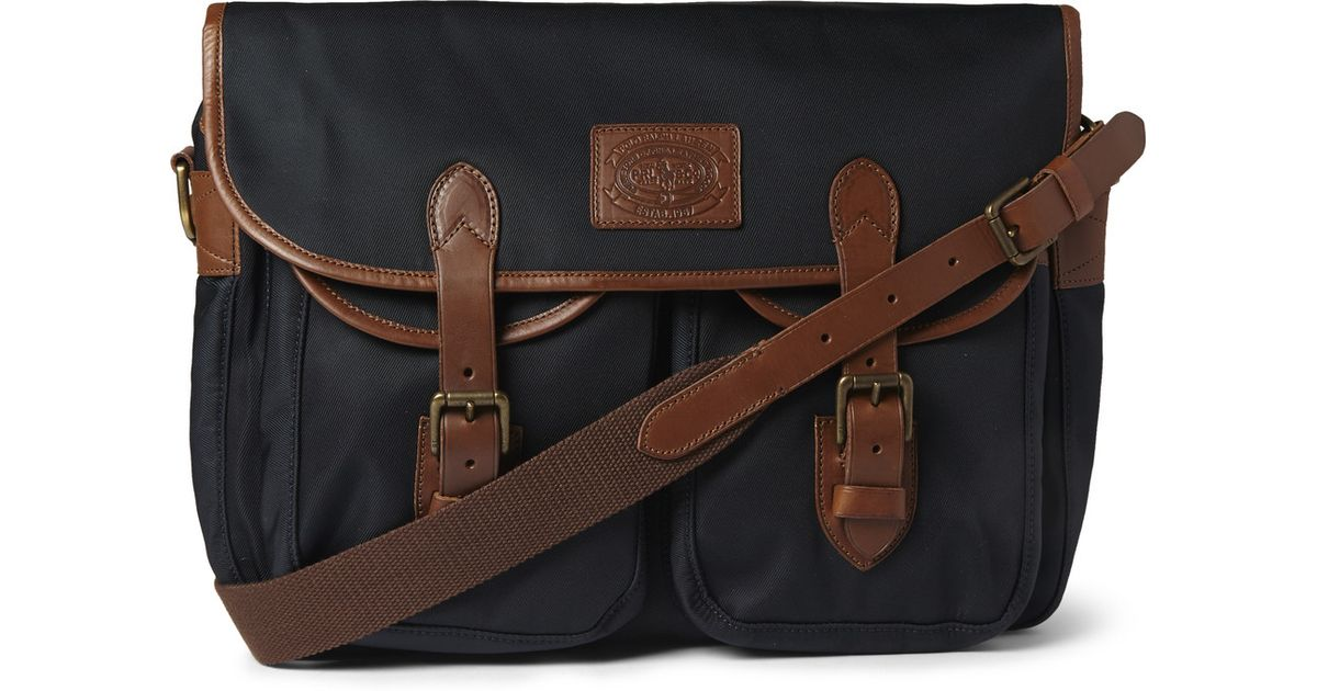 21ce6034973b ... discount code for lyst polo ralph lauren leather trimmed canvas  messenger bag in blue for men