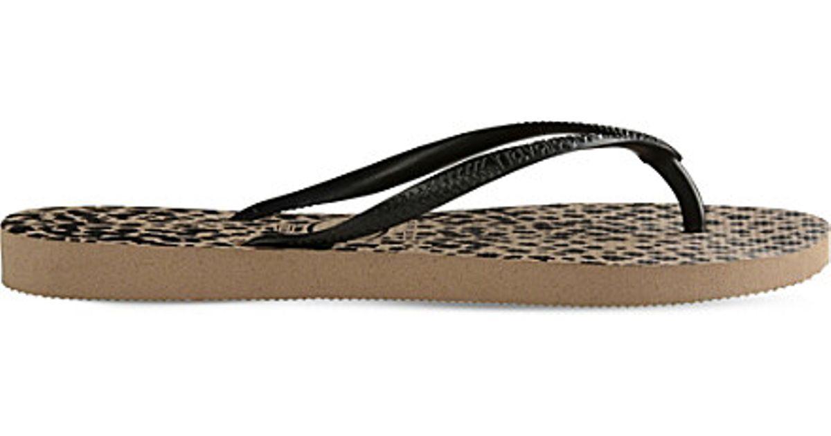 a84ea038102 Lyst - Havaianas Slim Animal-print Flip-flops in Black