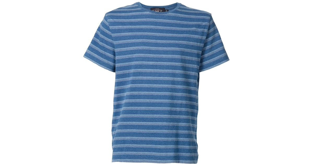 Rrl striped t shirt in white for men blue lyst for Blue white striped t shirt mens