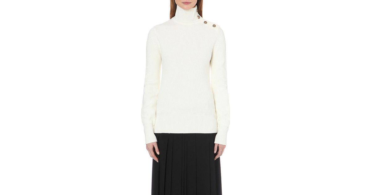 a3c7c3ed687 Chloé White Turtleneck Button-detail Wool Jumper