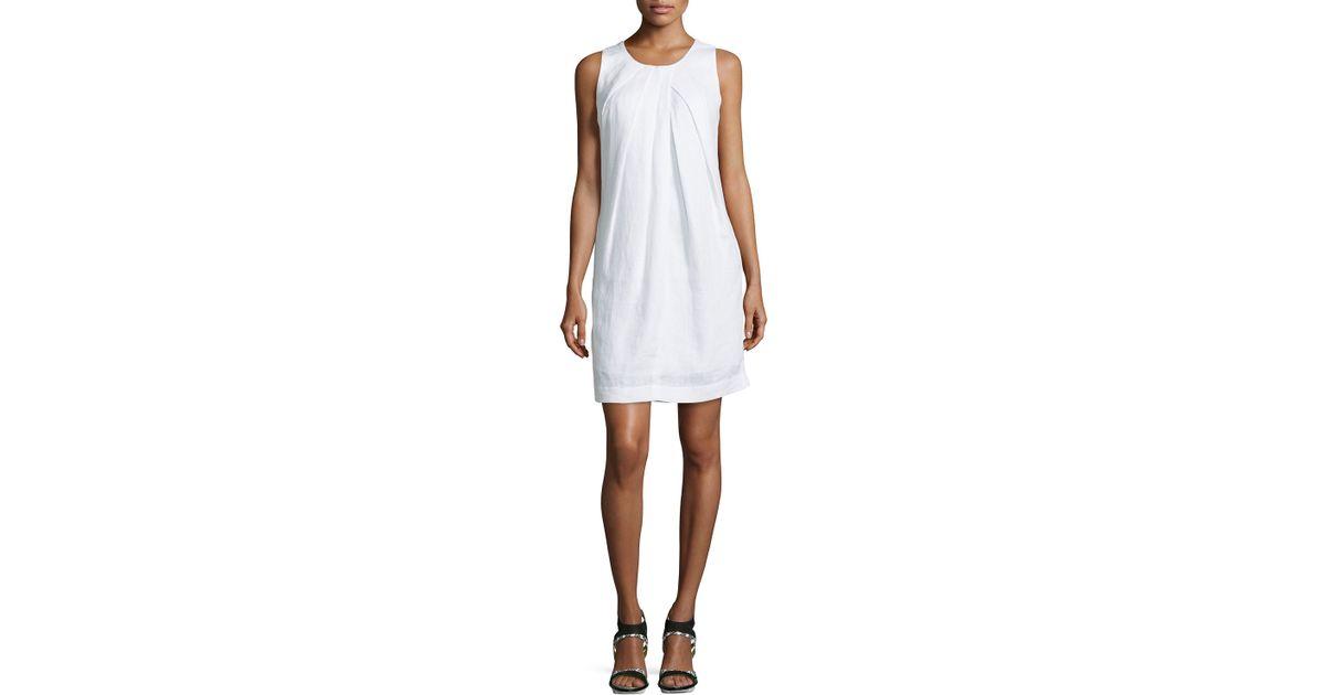 ec8ab3ee8dc Lyst - Neiman Marcus Sleeveless Linen Shift Dress in White
