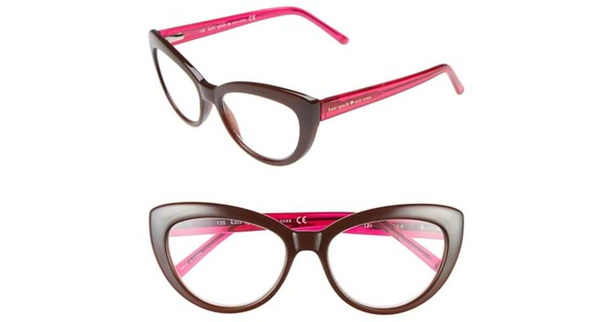 b205ac26749 Lyst - Kate Spade  kalena  53mm Cat Eye Reading Glasses - Transparent Brown  in Pink