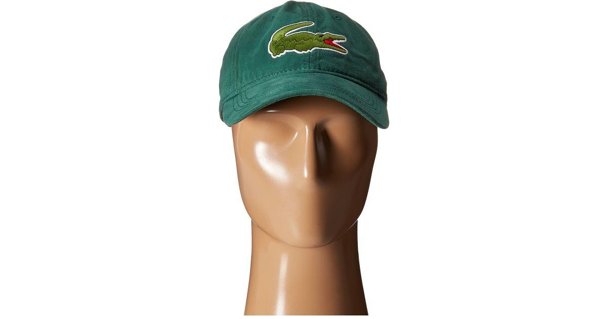 Lyst - Lacoste Big Croc Gabardine Cap in Green for Men f1c2f24ed78