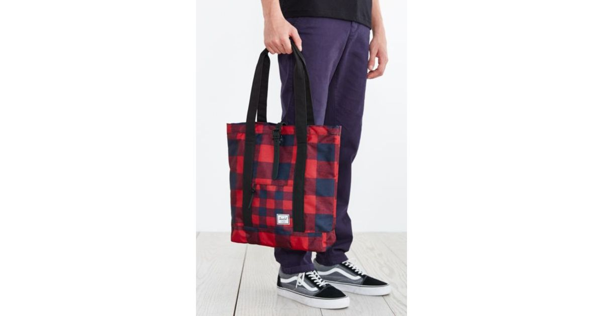 3e746cc4fb74 Lyst - Herschel Supply Co. Buffalo Plaid Market Tote Bag in Red for Men