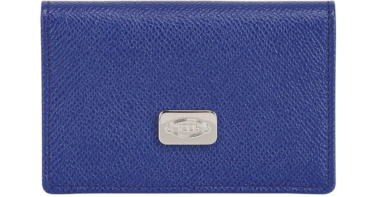 Tod\'s Leather Business Card Holder in Blue for Men | Lyst